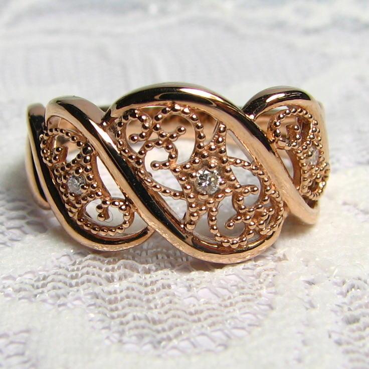 螺旋デザインリング ダイヤモンド K18PG/YG/WG 唐草模様 アンティーク風 個性的 送料無料 品質保証書 指輪 ご褒美