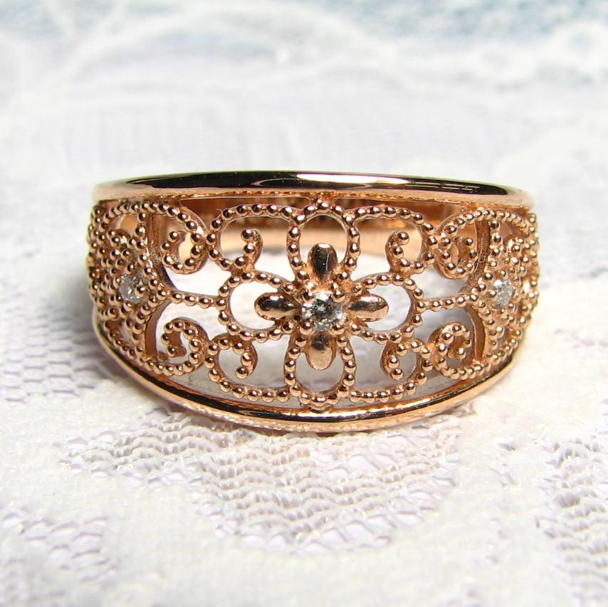 デザインリング ダイヤモンド K18PG/YG/WG 唐草模様 アンティーク風 個性的 送料無料 品質保証書 指輪 ご褒美