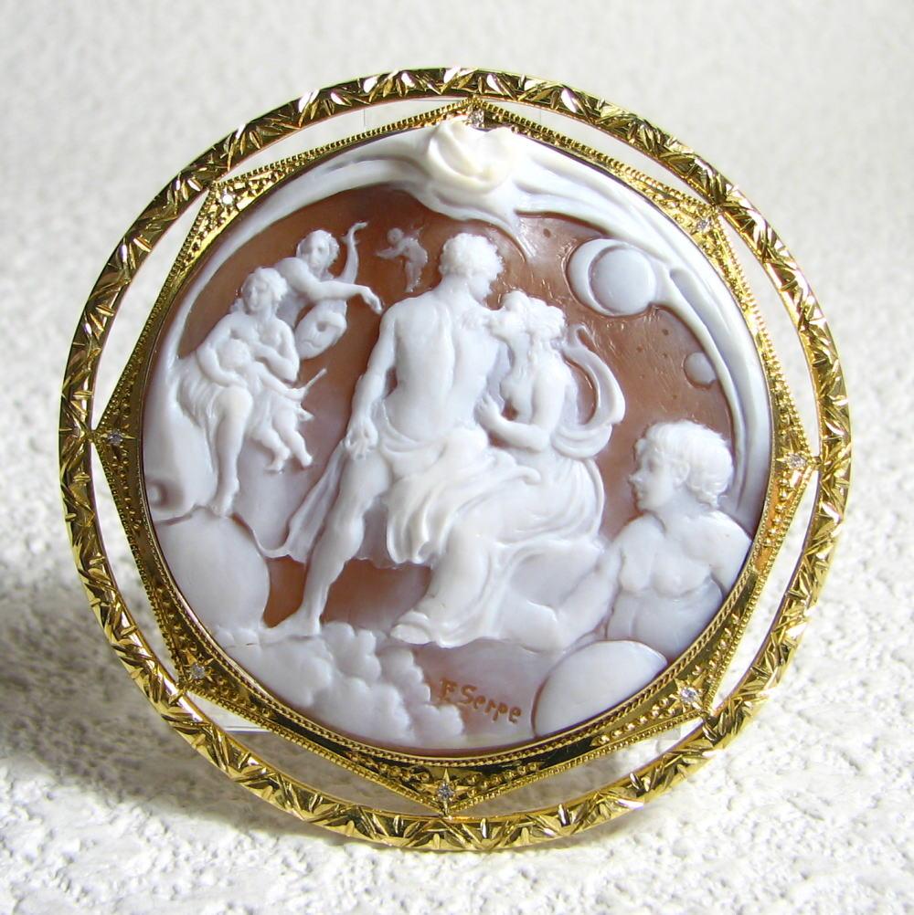 【セルペ】美しい神々と天使・ダイヤ0.08ct シェルカメオK18P&B (56644) 送料無料 品質保証書
