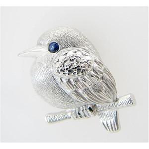 K18WG 小鳥 ピンブローチ サファイヤ 動物 タイニーピン メンズ 送料無料