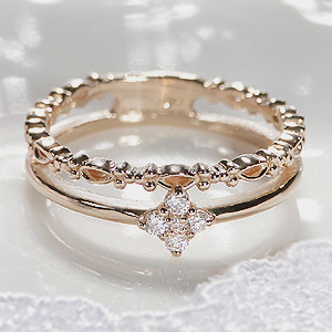K18WG/YG/PG ダイヤモンド 二連 ピンキー リング【H-SIクラス】【送料無料】可愛い ジュエリー ゴールド イエロー ホワイト ピンク 人気 指輪 品質保証書 プレゼント 重ね着け K18 18金 18k