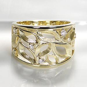 K18YG/PG/WG フラワー ダイヤモンド リング【送料無料】ゴールド イエロー ホワイト ピンク 可愛い 新作 ジュエリー ゴールド 人気 指輪 個性的 おしゃれ 品質保証書 ご褒美 プレゼント ギフト K18 18金 幅広タイプ 透かし模様