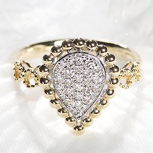 K18YG/WG ペアモチーフ ダイヤモンド リング【0.15ct】【無色透明】【H-SIクラス】【送料無料】ジュエリー 人気 レディース 指輪 ペアシェイプ しずく ティアドロップ パヴェ 4月誕生石 品質保証書 指輪 プレゼント ギフト ダイヤリング ダイア diamond ring 記念