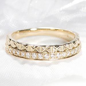 K18WG/YG/PG 2連風 ダイヤモンド リング【0.20ct】【無色透明】【H-SIクラス】【送料無料】ジュエリー 人気 レディース 指輪 豪華 二連風 4月誕生石 品質保証書 指輪 プレゼント ギフト ダイヤリング ダイア diamond ring 記念