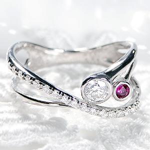 Pt900 ダイヤモンド&ルビー リング【無色透明】【H-SIクラス】【0.31ct】【送料無料】ジュエリー 人気 レディース 指輪 個性的 華やか 4月誕生石 品質保証書 指輪 ご褒美 プレゼント ギフト プラチナ900 ダイヤ ダイア インデックス