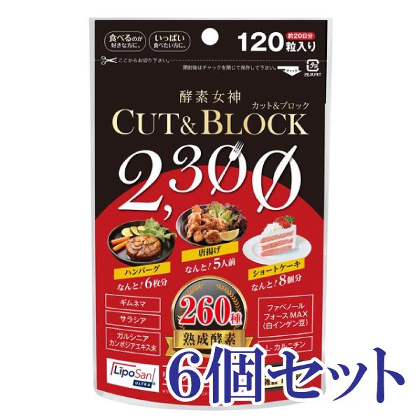 【酵素女神】酵素女神2300カット&ブロック6袋<120粒×6>【サロン専売品】【メール便送料無料】