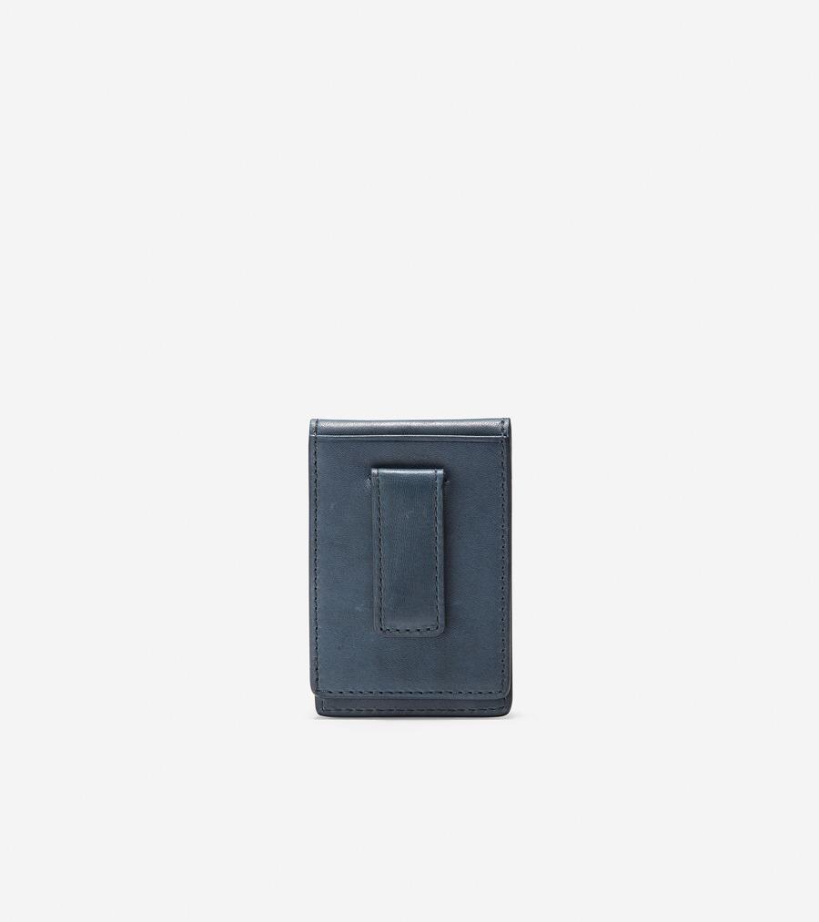 コールハーン Colehaan アウトレット メンズ アウトレット バッグ & アクセサリー 財布 フォールド カード ケース W/ マネー クリップ mens F11420 オンブル ブルー