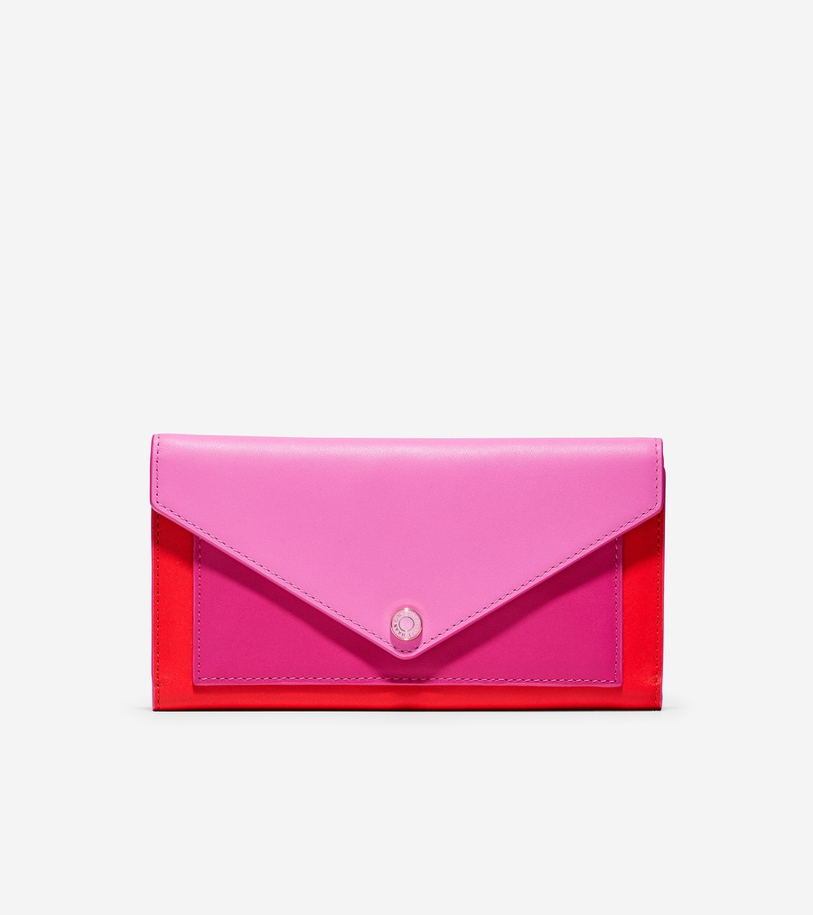 コールハーン Colehaan ウイメンズ バッグ & アクセサリー 財布 & ポーチ カラーブロック フラップ ウォレット womens U04493 フューシャ レッド カラーブロック