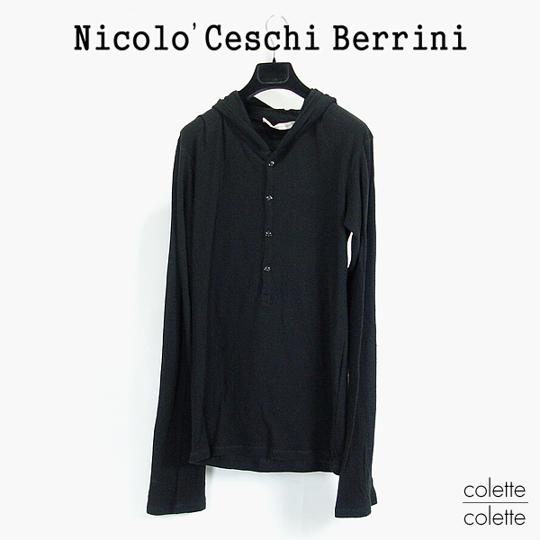 【SALE】 Nicolo Ceschi Berrini ( ニコロ チェスキ ベリーニ ) メンズ ロンT フーデットロンT ブラック ■ Nicolo Ceschi Berrini(ニコロ チェスキ ベリーニ ) プルオーバーロングパーカー ブラック