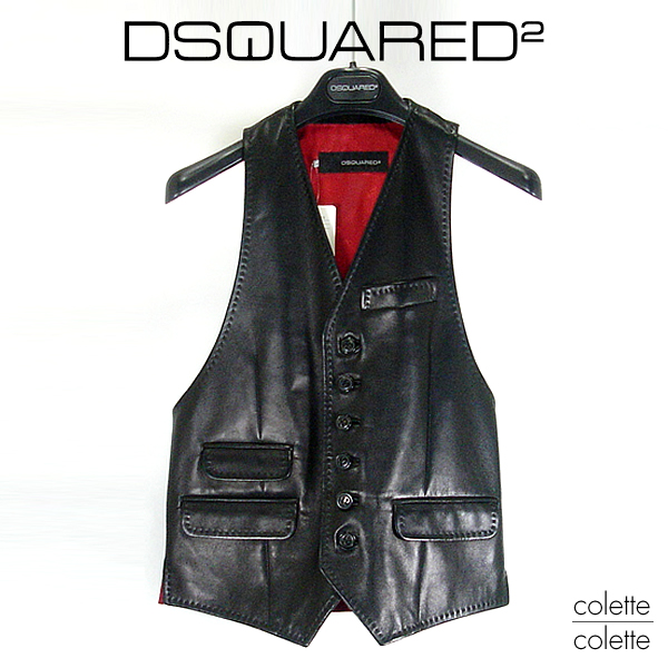 【 SALE 】ディースクエアード DSQUARED2 メンズ レザーベスト 【正規品】ディースク レザージレ dsquared2  DSQUARED2 ( ディースクエアード ) メンズ レザーベスト dsquared