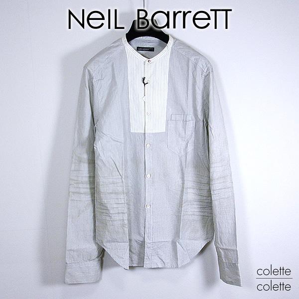 【SALE】ニールバレット(Neil Barrett)メンズシャツNEIL BARRETT ニールシャツ  neil barrett(ニールバレット)スタンドピンストライプ シャツ