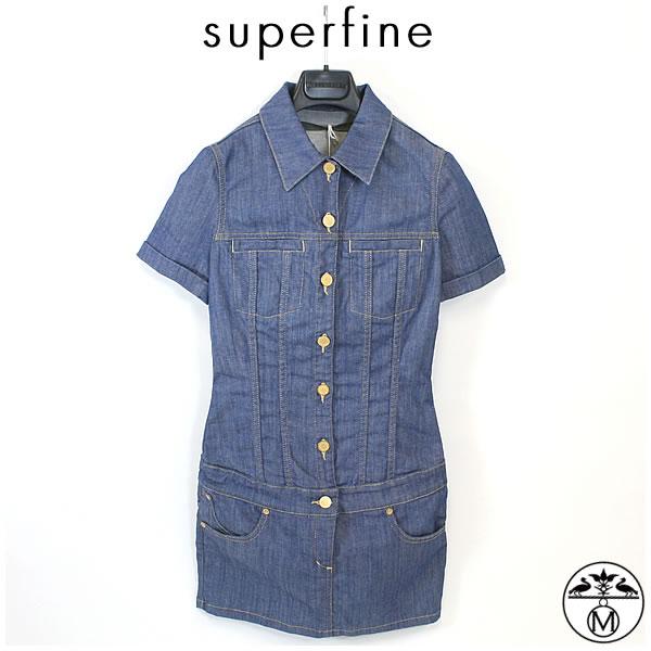 【SALE30%OFF】superfine(スーパーファイン)レディースデニム  ■ブルーストレッチデニム mini all in one ミニワンピース superfine(スーパーファイン)ミニワンピースデニム