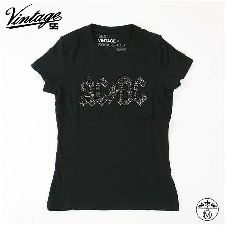 【SALE30%OFF】 Vintage55 ( ヴィンテージ55 )ユニセックスロックTシャツ□ACDC スワロフスキー Tシャツ 黒 ★SEX VINTAGE & ROCK'N' ROLL★ Vintage55 ( ヴィンテージ55 )
