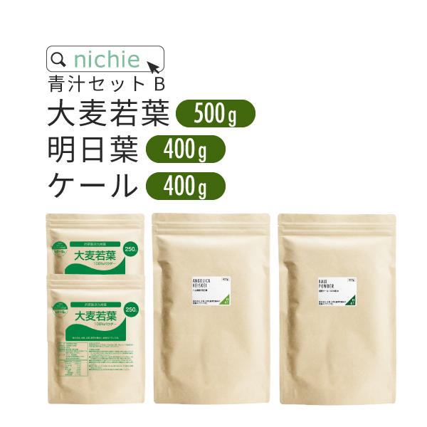 青汁 セット B ( 大麦若葉 九州産500g / 明日葉 八丈島産400g / ケール 国産400g )