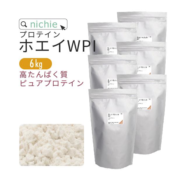 nichie ホエイプロテイン WPI プレーン 溶けやすい 6kg ココア イチゴ メロン フレーバープレゼント