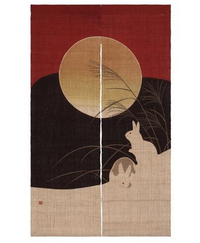 京都洛柿庵 手描き 手染めのれん 満月うさぎ