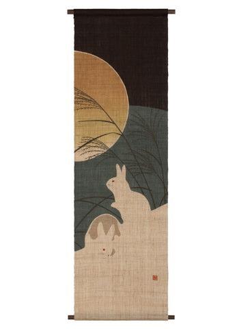 京都洛柿庵 手描き 手染めタペストリー お月見