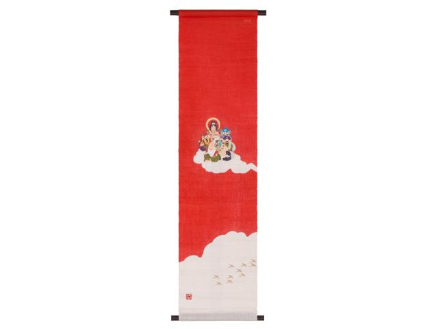 京都洛柿庵 手描き手染めタペストリー 七福神 縁起飾り