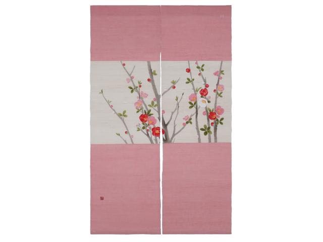 京都洛柿庵手染め麻のれん 木瓜の花