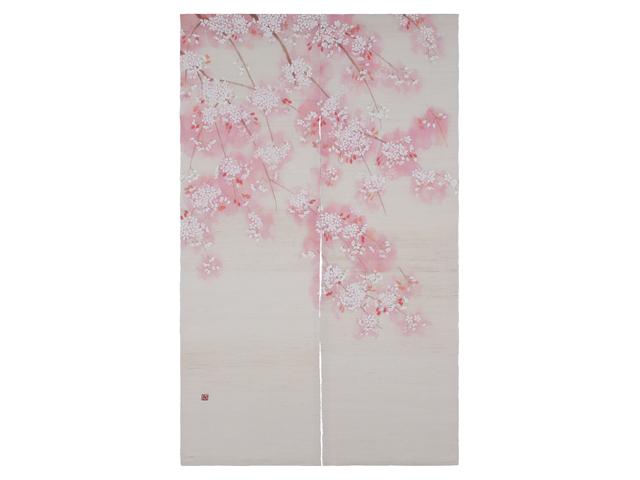 京都洛柿庵手染め麻のれん 淡紅桜