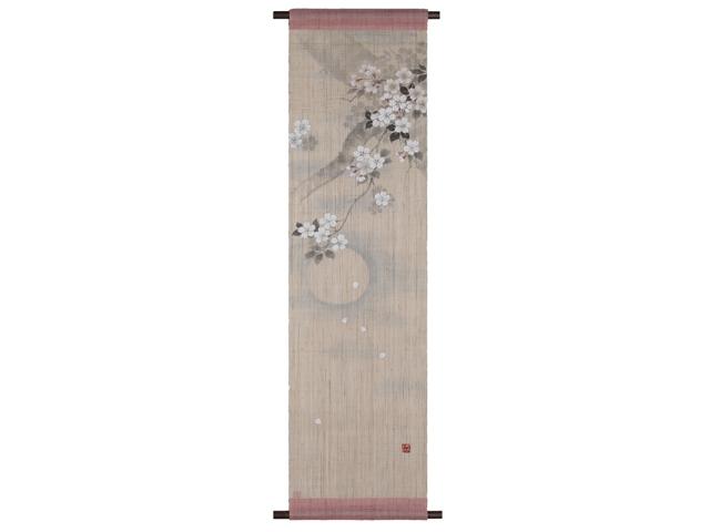 日本製 京都洛柿庵 手描き 手染め麻タペストリー 宵の月