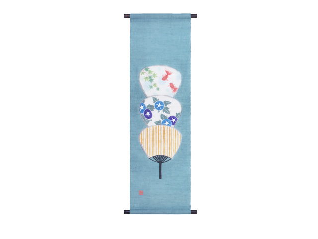 京都洛柿庵 手描き手染めタペストリー 飾り団扇