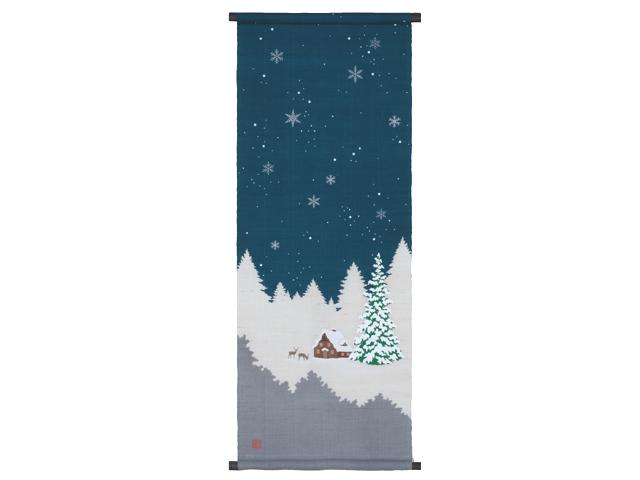 京都洛柿庵ろうけつ染めタペストリーホワイトクリスマス