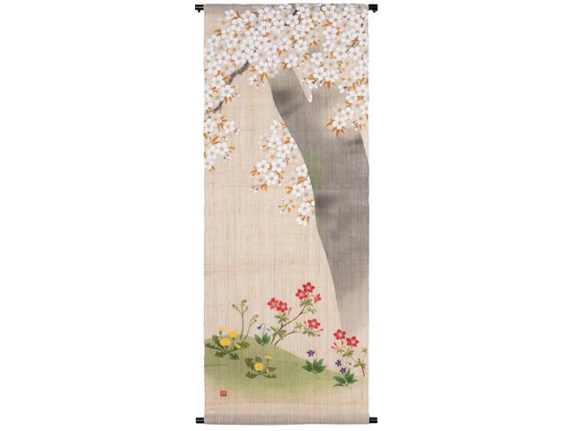 京都洛柿庵手描きタペストリー さくら草花