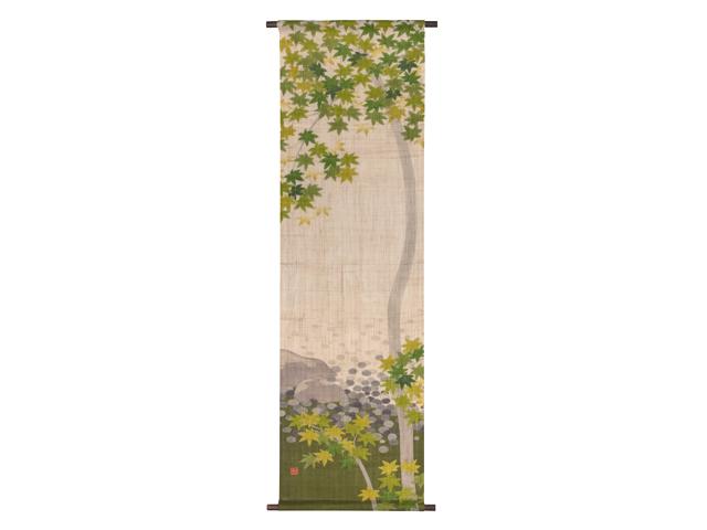 京都洛柿庵 夏の飾り手描きタペストリー 青紅葉