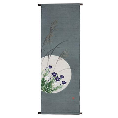 京都洛柿庵 手描き 手染めタペストリー 桔梗