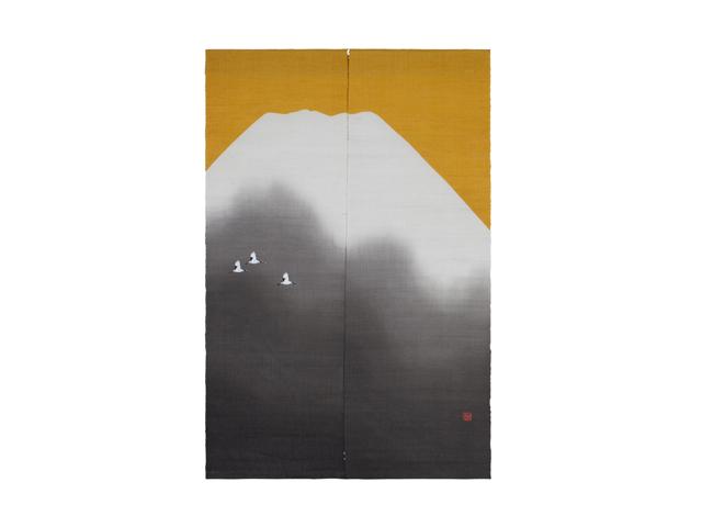 日本製 京都洛柿庵 お正月飾り 迎春手描きのれん 黄金富士
