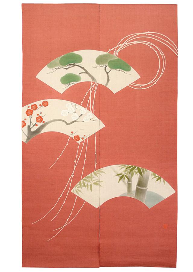 京都洛柿庵 お正月飾り 縁起飾り手描きのれん 結び柳