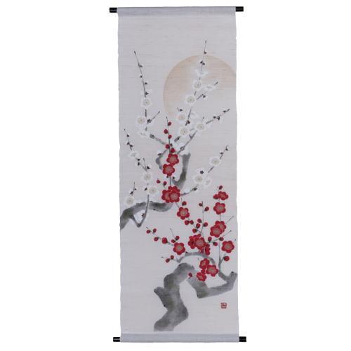 京都洛柿庵 お正月飾り 縁起飾り手描きタペストリー 紅梅白梅