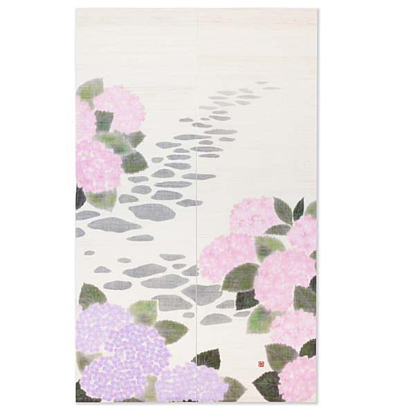 京都洛柿庵 手描きのれん あじさい小径初夏の飾り 新築 引っ越し 開店祝い