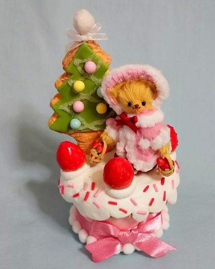 水上千恵製作ミニチュアテディベア2018クリスマス企画ウィンターカップケーキ
