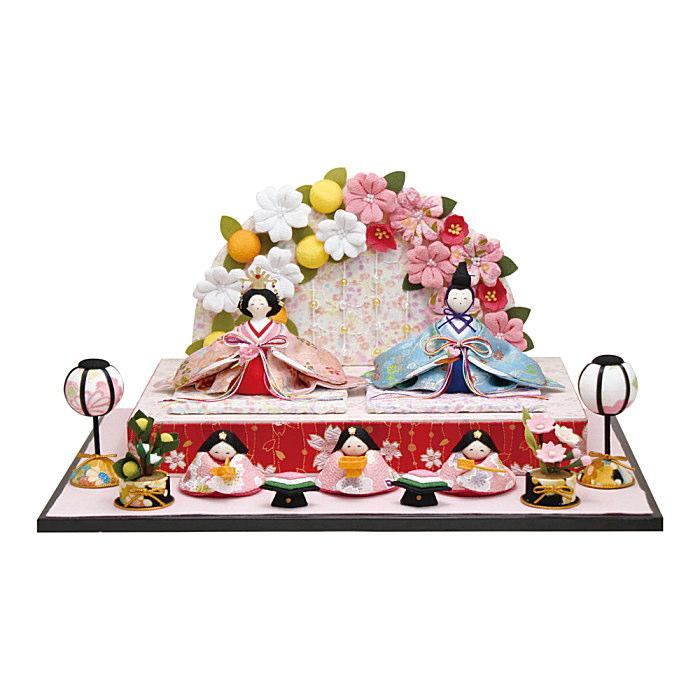 京都龍虎 雛飾りちりめん 舞桜雛