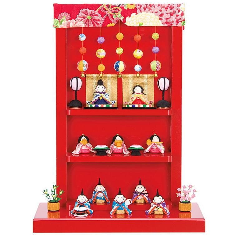 京都龍虎 ちりめん細工わらべ雛十人揃い吊飾り台あす楽対応 桃の節句飾り 雛祭り