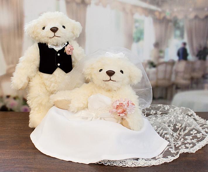 ウェディングベア 完成品マシェリベア オフホワイト結婚祝い 贈り物 テディベア