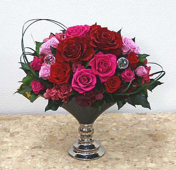 プリザーブドフラワーダイヤモンドローズ 大 ピンク敬老の日 贈り物