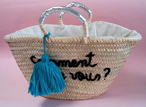 【通販カタログ掲載】モロッコスタイル手刺繍 手編み 夏バッグロゴ刺繍マルシェバッグ あす楽対応