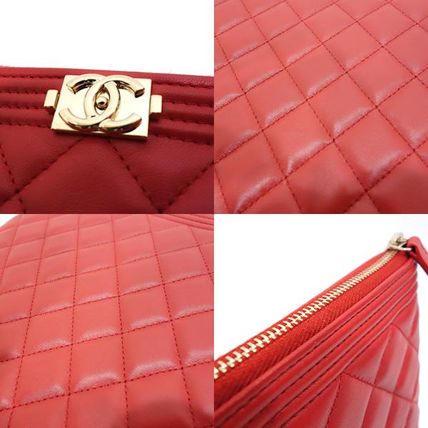 9e552e50cbf7da ... Chanel bag clutch bag second bag boy Chanel matelasse lambskin red red  A80571 Lady's CHANEL ...