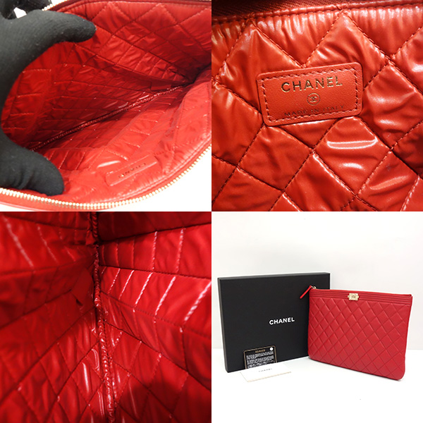434327a7a34bbd ... Chanel bag clutch bag second bag boy Chanel matelasse lambskin red red  A80571 Lady's CHANEL
