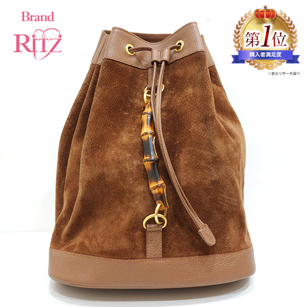 ab9a104c3048 Used Gucci bag rucksack bamboo suede X leather brown brown 003.2855.0043.0  GUCCI is used