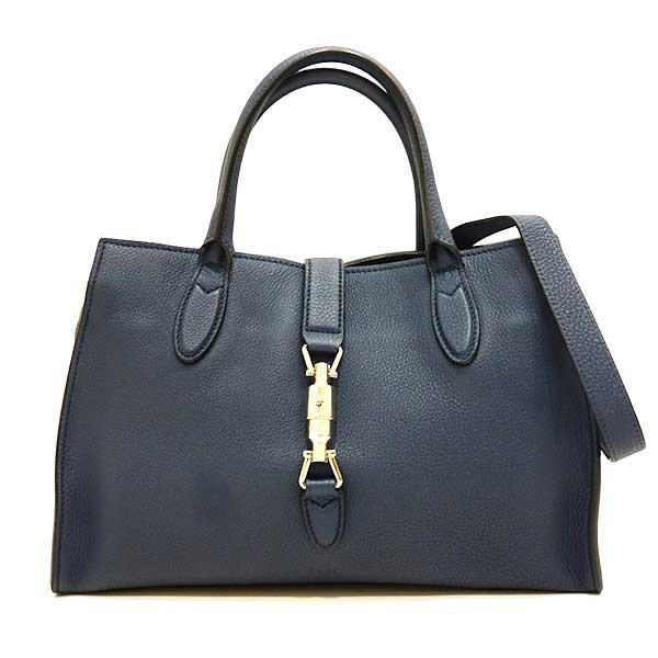 4568519639b2 Take used Gucci bag tote bag shoulder bag Jackie software leather top  steering wheel bag 2way slant; new Jackie leather navy dark blue 365460  Lady's GUCCI