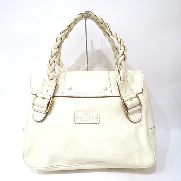 Used Valentino Bag Hand Garavani Line Leather Thoth White B Rank Lady S