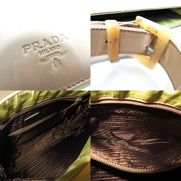 936e297a7a913 Prada bag shoulder beige green by color vintage nylon leather 60's 70's  80's Lady's B rank