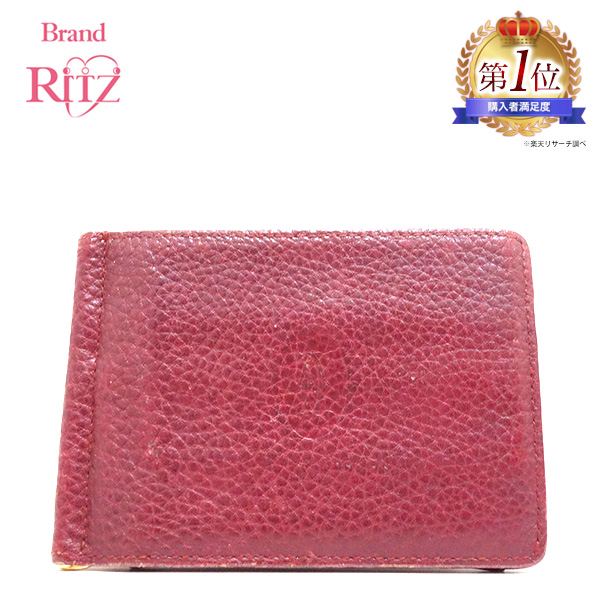 4c995717d9 Used Cartier wallet billfold folio mast line money clip calf Bordeaux red  system red system Lady's ...