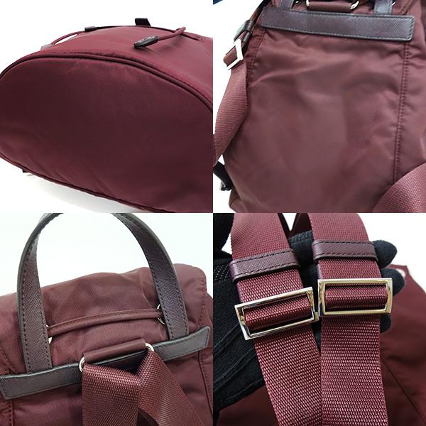 796a95d1ae9e Pro-used Prada bag rucksack backpack VELA nylon X レザーグラナートボルドー red system  wine red BZ0032 Lady s PRADA is used