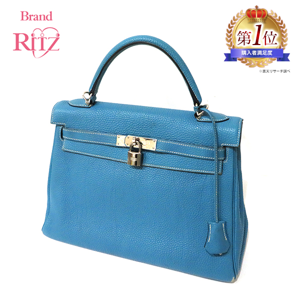 d8e4ca9e02e Hermes bag Kelly 32 トゴ □ I carved seal handbag shoulder silver metal  fittings blue Gene light blue B+ rank Lady s