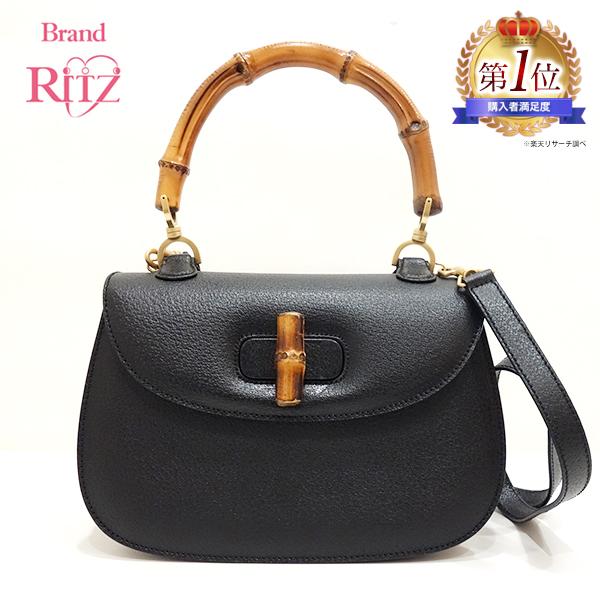 d2a8bad1f4ef Used Gucci bag handbag shoulder vintage 2way bamboo X leather black black  000/926/ ...